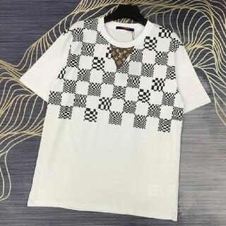 ルイヴィトン(LOUIS VUITTON)の新しい高品質チェック柄ロゴラウンドネック半袖(Tシャツ/カットソー(半袖/袖なし))