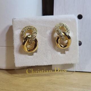 クリスチャンディオール(Christian Dior)のChristian Dior ディオール イヤリング ゴールド ラインストーン(イヤリング)
