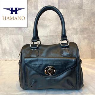 濱野皮革工藝/HAMANO - 【HAMANO】濱野皮革工藝 皇室御用達 2way クロコ型押し ハンドバッグ