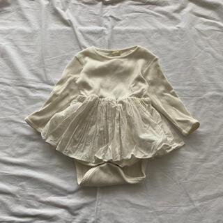 ロンパース ベビースーツ ドレス monbebe 韓国子供服 M リブ フリル(ロンパース)