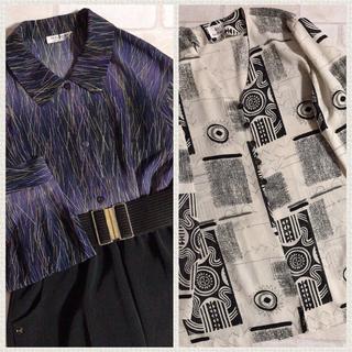 グリモワール(Grimoire)のモノトーン オフ白 黒 幾何学柄 アート ゆったり ルーズ 羽織り ジャケット(カーディガン)