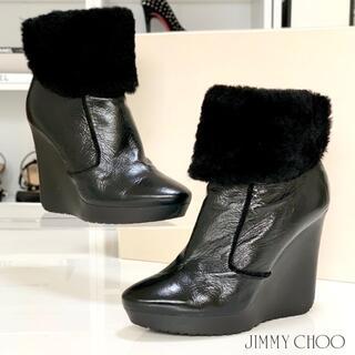 ジミーチュウ(JIMMY CHOO)の2420 ジミーチュウ レザー ファー ウェッジ ショートブーツ ブラック(ブーツ)
