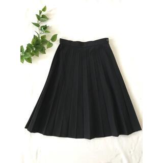 COMME des GARCONS - トリココムデギャルソン プリーツスカート ブラック ウール ひざ丈スカート