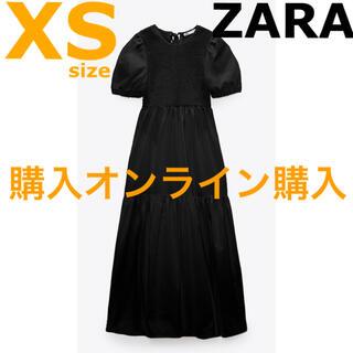 ZARA - 【ZARA】ザラ XS ポプリン パネルミディ ワンピース ポプリンワンピース