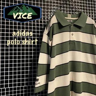 アディダス(adidas)の希少★ adidas/アディダス ポロシャツ ラガーシャツ 古着 刺繍ロゴ 緑(ポロシャツ)