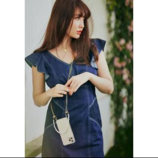 snidel - Ruffled Shoulder Denim Midi Dress