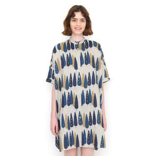 グラニフ(Design Tshirts Store graniph)のフォレスト柄 リネン半袖ワンピース(ひざ丈ワンピース)