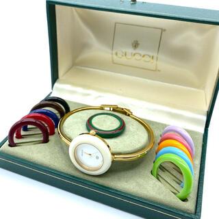 グッチ(Gucci)の新品電池交換済み GUCCI チェンジベゼル Mサイズ レディース腕時計(腕時計)