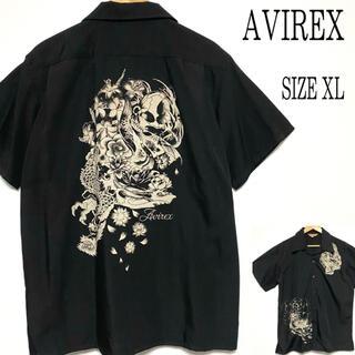 AVIREX - 美品 AVIREX アヴィレックス 和柄 開襟 アロハシャツ 黒 XL