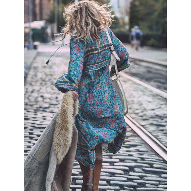 ①★4L★大きいサイズ★ボヘミアン 花柄 マキシ丈ワンピ~ レディースのワンピース(ロングワンピース/マキシワンピース)の商品写真