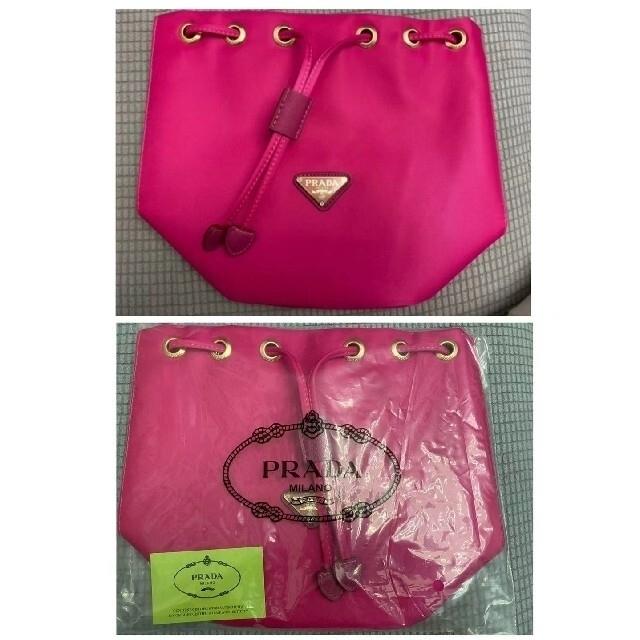 PRADA(プラダ)のmiya様専用♡PRADA 巾着ポーチ★収納バッグ ギフト品 ピンク レディースのファッション小物(ポーチ)の商品写真