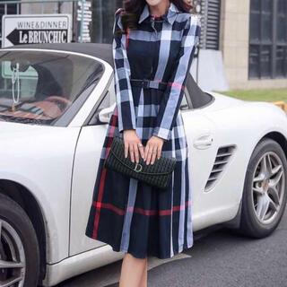 特別SALE チェック柄 レディース ワンピース ドレス ベルト付き スカート