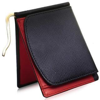 マネークリップ 小銭入れ付き サフィアーノレザー 薄い 財布 二つ折り レッド(マネークリップ)