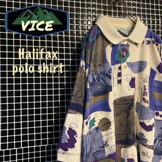 Halifax/ハリファックス 総柄ポロシャツ デザインシャツ 古着(ポロシャツ)