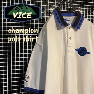 チャンピオン(Champion)の極上★ champion/チャンピオン 90's ポロシャツ 民族柄 刺繍ロゴ(ポロシャツ)