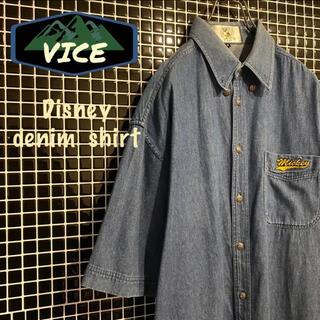 ディズニー(Disney)の極上★Disney/ディズニー デニムシャツ BDシャツ 刺繍ロゴ ミッキー古着(シャツ)