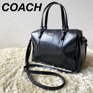 コーチ(COACH)の美品 コーチ ミニサッチェル 2way ショルダーバッグ レザー ブラック(ショルダーバッグ)