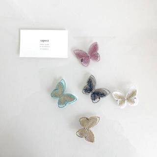 バタフライ ヘアピン ヘアクリップ 蝶々 キッズ 蝶 リボンクリップ 刺繍
