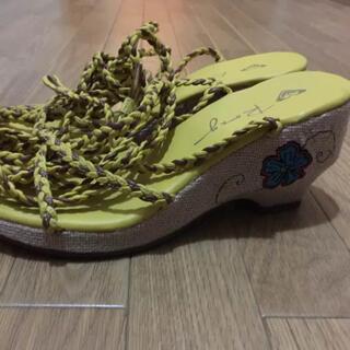 ロキシー(Roxy)のROXY 編み上げサンダル レディース 靴 イエロー(サンダル)