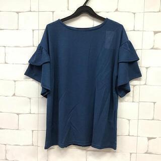 シャリ感のある袖フリルトップス 72556 ロイヤルブルーM(カットソー(半袖/袖なし))