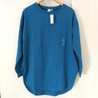 ギャップ(GAP)の新品未使用品!GAP ラウンドヘムロングスリーブ ブルー(Tシャツ(長袖/七分))