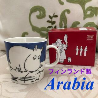 アラビア(ARABIA)の【入手困難】廃盤 旧ロゴ アラビア ムーミン 『トロールオンアイス』マグカップ(食器)