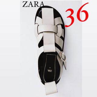 ZARA - 新品 ZARA ザラ レザーフラットサンダル フラットケージサンダル 36