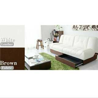 ブラウン×ホワイト/ソファ/リクライニング/3人掛け/収納付き■(ソファベッド)
