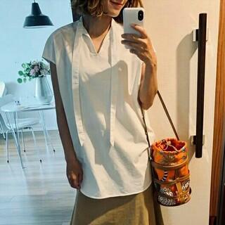 Drawer - yori フレンチスリーブリボンシャツ ホワイト ヨリ