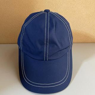 男女兼用 帽子 ネイビー ×白ステッチ キャップ (キャップ)