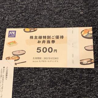 大戸屋 株主優待券 2枚 1000円分(レストラン/食事券)