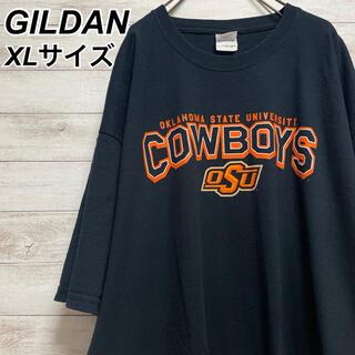 GILDAN - XLサイズ 古着 ギルダン 半袖 Tシャツ プリント ブラック メンズライク 黒
