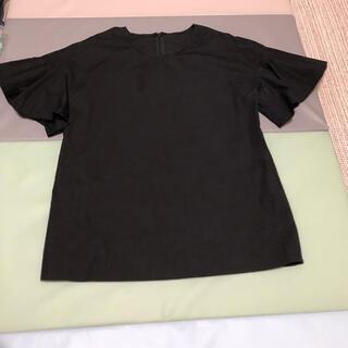 エストネーション(ESTNATION)のエストネーション 袖フリルカットソー 36 ブラック(カットソー(半袖/袖なし))