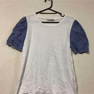 ザラ(ZARA)のZARA☆袖ギンガムチェックデザインカットソー(カットソー(半袖/袖なし))