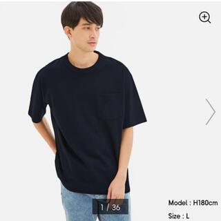 ジーユー(GU)のGUヘビーウェイトビッグT(5分袖)XXLブラック(Tシャツ/カットソー(半袖/袖なし))