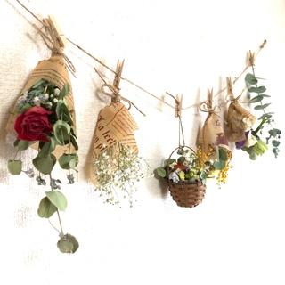 6点 かごの中に花畑 〜ガーランド〜薔薇とユーカリ15種類のドライフラワー〜
