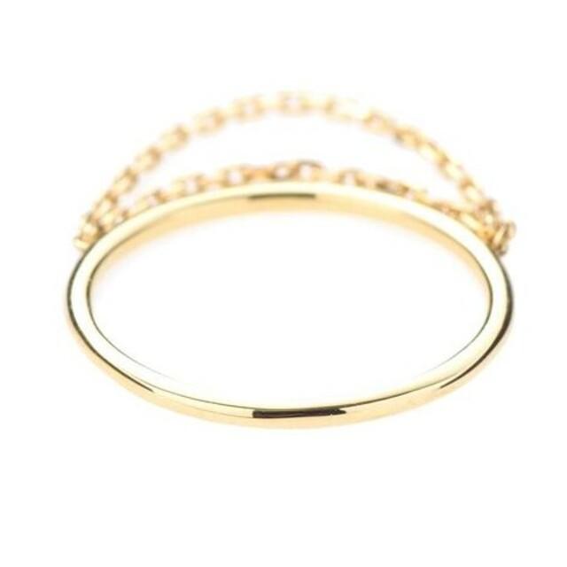 COCOSHNIK(ココシュニック)のココシュニック K10 リング 3号 2連チェーン ゴールド レイヤード 美品 レディースのアクセサリー(リング(指輪))の商品写真