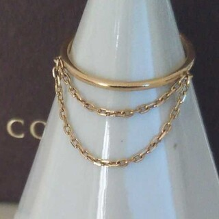 ココシュニック(COCOSHNIK)のココシュニック K10 リング 3号 2連チェーン ゴールド レイヤード 美品(リング(指輪))