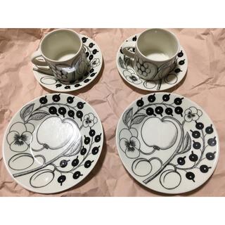 アラビア(ARABIA)の旧ロゴ!アラビア ブラック パラティッシ コーヒーカップ、ソーサー、プレート (食器)