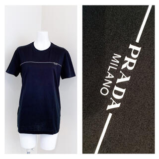 プラダ(PRADA)のPRADA   胸元PRADAロゴ ライン コットン Tシャツ(Tシャツ(半袖/袖なし))