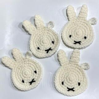 【SALE】うさぎ アクリルたわしエコたわしコースタープチギフトかぎ針編み(キッチン小物)