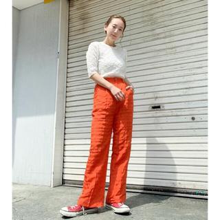 Kastane - 刺繍ジャガードパンツ オレンジ カラーパンツ
