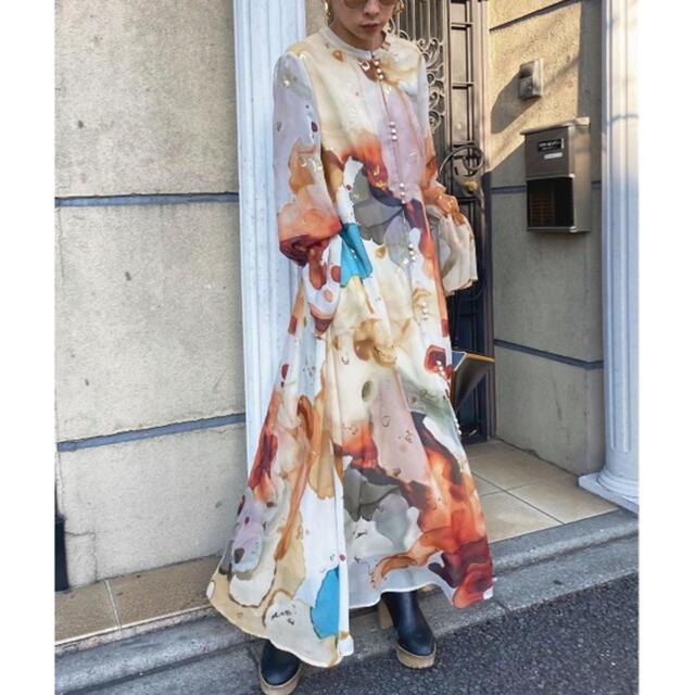 Ameri VINTAGE(アメリヴィンテージ)のAMERI VINTAGE インクアートドレス レディースのワンピース(ロングワンピース/マキシワンピース)の商品写真