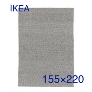 IKEA - IIKEA ティプヘデ コットン ラグ 平織グレー/ホワイト155x220