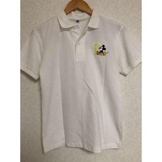 ディズニー(Disney)のミッキーマウス ポロシャツ イニシャル T 無地 白(ポロシャツ)