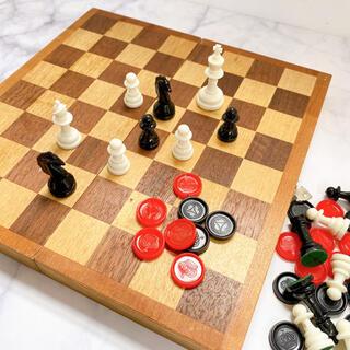 アンティーク レトロ 木製 チェス セット(オセロ/チェス)