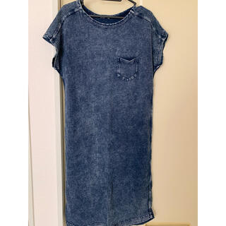 ジーユー(GU)のGU ジーユー レディース デニムTワンピース Lサイズ(Tシャツ(半袖/袖なし))