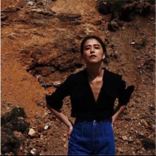 ファビアンルー(Fabiane Roux)のnowos crepe blouse 楊柳シャツ  ブラウス ブラック(シャツ/ブラウス(長袖/七分))