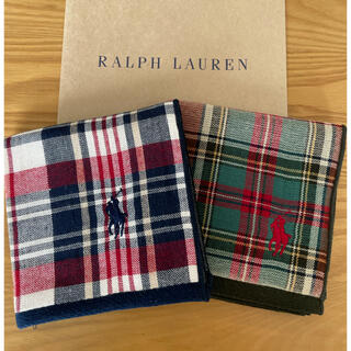 Ralph Lauren - ラルフローレン タオルハンカチ チェック 二枚セット
