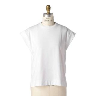 Drawer - Drawer ノースリーブ Tシャツ  ホワイト ブラミンク フレンチスリーブ